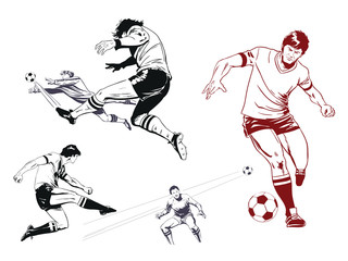 Set of football players. Stock illustration.
