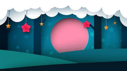 Night paper forest - paper illustration. Vector eps 10.