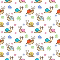 cute snail and flower seamless pattern