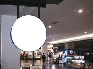 Signboard shop Mock up Logo Circle Display Retail Shopping departmentstore