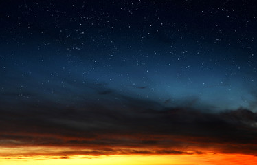 Colorful sky with stars after sunset. Nature background.