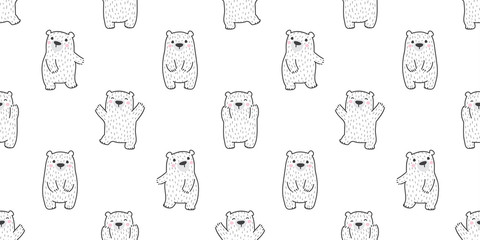 Bear isolated polar bear seamless pattern teddy happy vector wallpaper background