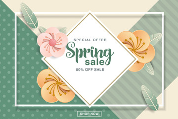Spring Sale Design with Colorful Flowers