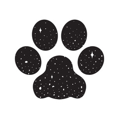 dog paw vector icon logo bulldog space night sky illustration graphic cartoon wallpaper background