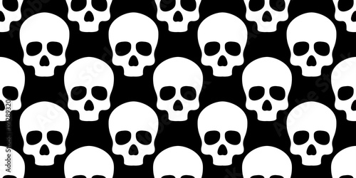 Skull seamless pattern bone Halloween ghost face gothic isolated ...