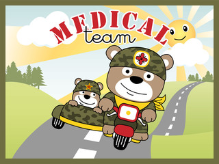 funny soldiers cartoon on military motorcycle