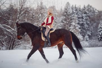 Horse. Girl rider rides brown horse through winter forest in snow. Concept walk in farm.