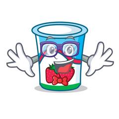 Geek yogurt character cartoon style