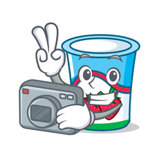 Photographer yogurt mascot cartoon style