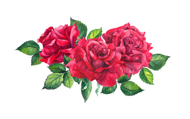 Red roses bouquet. Isolated watercolor illustration