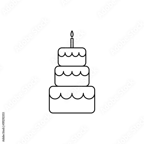 """""""Birthday Cake Line Icon.Outline Cake Vector Icon."""" Stock Image And Royalty-free Vector Files On"""