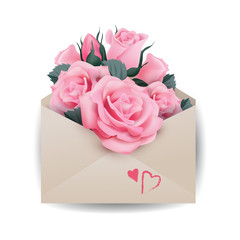 Love or valentine's day concept.Pink beautiful roses in envelope The template vector