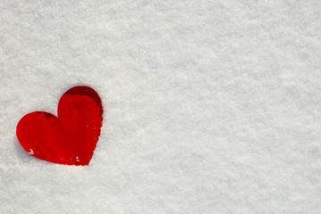 Valentine's Day Love hearts on snow