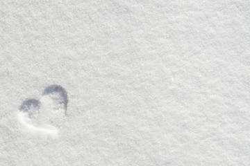 Valentine's Day Love hearts on snow