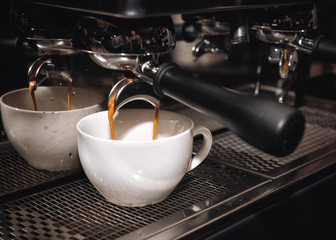 Process of preparing cappuccino in a professional coffee machine
