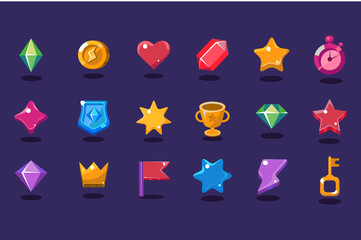 Set of items for gaming interface. Crystal, coin, heart, star, stopwatch, shield, trophy, crown, flag, lightning, key. Flat vector elements for mobile arcade and casual game