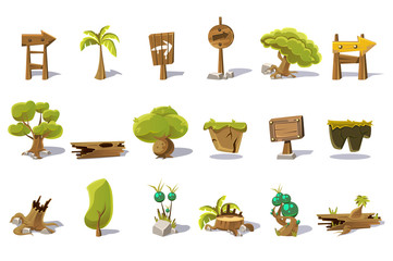 Cartoon set of flat vector nature elements for mobile or computer game. Palm, green trees, stump, old woods, pointers with arrows, plot of land, plants, stones. Gaming interface