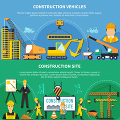 Two Construction Worker Banner Set