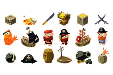 Cartoon pirate icons set. Mobile game assets. Captain, parrot, sailboat, treasure chest, gold, skull, crossed daggers, spyglass, sword, hat, bomb. Flat vector design