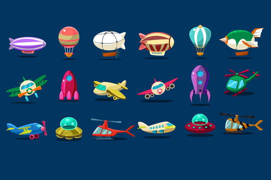 Cartoon set of different types of aircrafts. Alien saucers, airplanes, spaceship, balloons, helicopters and zeppelins. Flat vector design for mobile game interface
