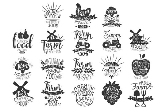 Vector set of textured monochrome labels for farm market. Green garden. Emblem for organic food store. Natural products. Hand drawn logos with lettering