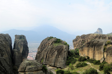 Amazing terrain in Meteora valley, Greece / one of most popular Mediterranean tourist routes. A stronghold of Orthodox Christianity. It is famous for its unique rocky landscape and places of worship