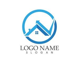 Building home shield protection logo design