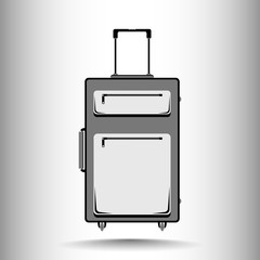 A suitcase for traveling in black and white tones