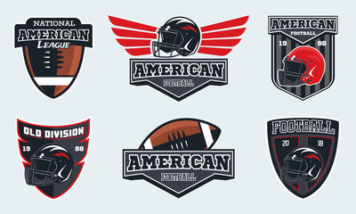 Set of american football emblems, labels and logo.