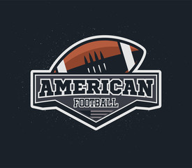 American football emblem with grunge background.