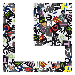 Vector geometric initial letter L on confused alphabet