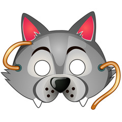 Funny wolf mask with strings drawn in cartoon style. Carnival and masquerade accessories. Vector illustration isolated on white background