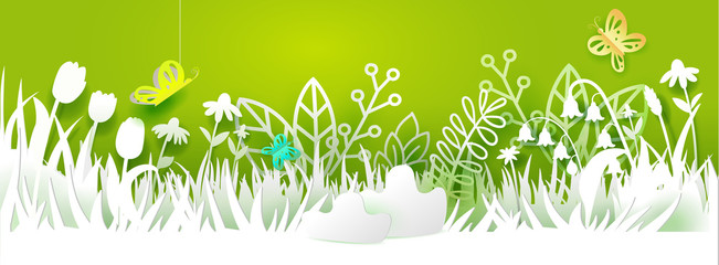 Paper art cut out meadow with flowers on green background. Grass, tulips and chamomiles, butterfly. Vector illustration. Season banner with place for your text. Nature decor. White on green colors
