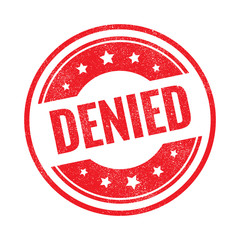 Denied grunge retro red isolated stamp on white background