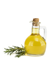 olive oil in a bottle on a white background.