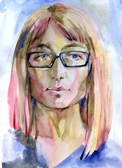 Watercolor pink hair girl in the glasses