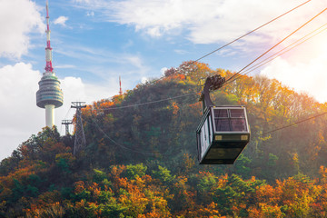 Wall Mural - Cable car to Seoul N tower