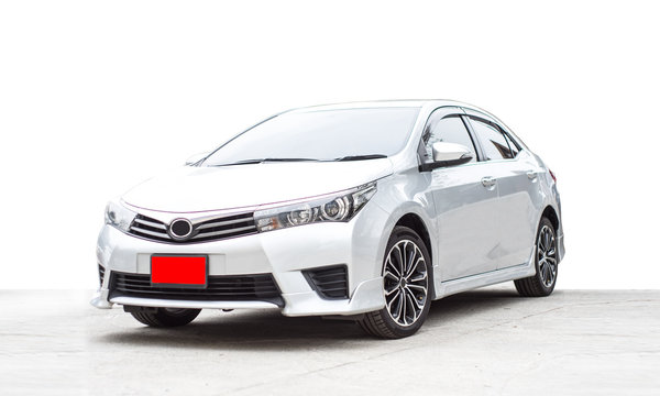 New car of white color on white background.  Car in factory.