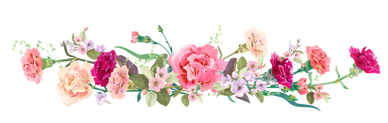 Panoramic view: bouquet of carnation schabaud, spring blossom. Horizontal border: red, pink flowers, buds, leaves on white background. Digital draw illustration in watercolor style, vintage, vector Wall mural