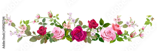 Panoramic View Bouquet Of Roses Spring Blossom Horizontal Border