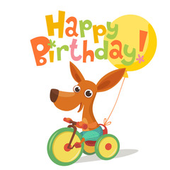 Happy birthday vector card. Baby birthday card with cute puppy