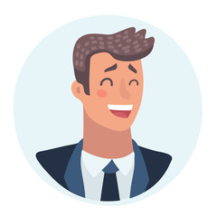 Young man face, laughing facial expression, cartoon vector illustrations