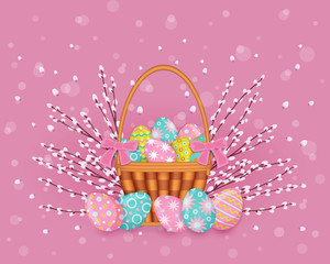 vector easter holiday poster, banner background template with spring festive elements - decorated eggs in wicker basket, easter pussy willow twigs for your design. Illustration on pink background.