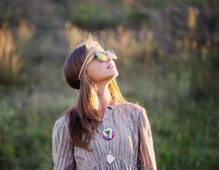 teen girl in sunglasses outdoor