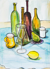 Still life with bottles