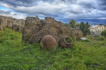 Italy, Pompei, 02,01,2018    Ruins in Pompeii and in background Vesuvius, Italy