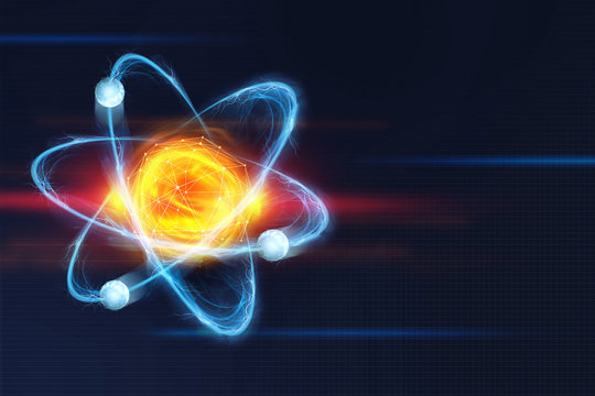 Atomic structure. Futuristic concept on the topic of nanotechnology in science. The nucleus of an atom surrounded by electrons on a technological background