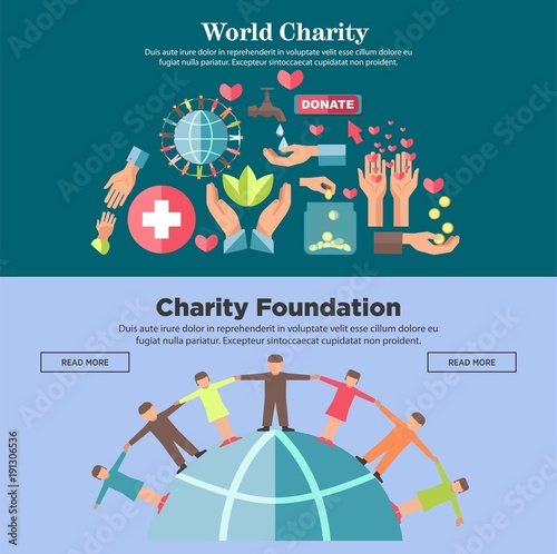 World charity foundation promotional Internet posters templates set ...