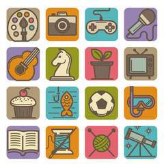 Hobby and leisure time activities bright icons set