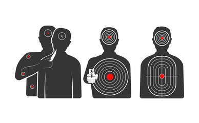 Targets in shape of human silhouettes for trainings set
